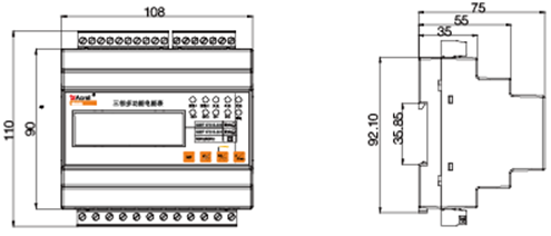 三相四线;互感器接入;2路开关量输入